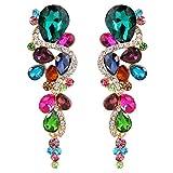 BriLove Wedding Bridal Dangle Earrings for Women Bohemian Boho Crystal Multiple Teardrop Chandelier Long Earrings Gold-Toned Multicolor Colorful