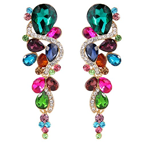 BriLove Women's Wedding Bridal Dangle Earrings Bohemian Boho Crystal Multiple Teardrop Chandelier Long Earrings Gold-Tone Multicolor Colorful ()