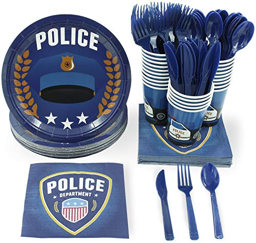 Disposable Dinnerware Set - Serves 24 - Police Party Supplies for Kids Birthdays, Includes Plastic Knives, Spoons, Forks, Paper Plates, Napkins,