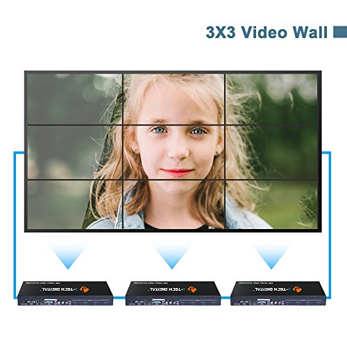 J-Tech Digital ProAV Multi-Channel HDMI VGA AV USB Video Processor 1x4 2x2 (with cascading function supports 3x3 4x4 ··· 10x10) Video Wall Controller by J-Tech Digital