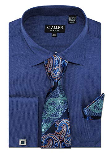 C. Allen Men's Solid Square Pattern Regular Fit French Cuffs Dress Shirts with Tie Hanky Cufflinks Combo Navy