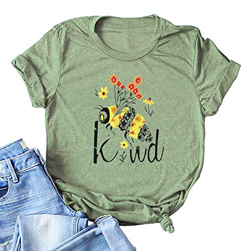 Bees Kind T Shirt Women Cute Graphic Short Sleeve Baseball Casual Tee Tops Army Green L