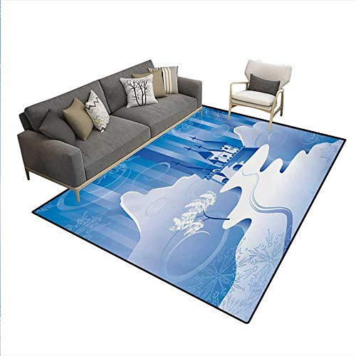 - Carpet,Christmas Scene in Northern Part The World Snowy Mountains Castle Digital Image,Outdoor Rug,Blue Winter,6'x7'