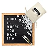 Felt Letter Board by Chelton Wilson: 10X10 Black Message Board with Letters and Emojis to Create Customized Messages and Announcements | Wall Mount and Tripod Stand Included | Letter Board with Letter