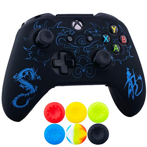 (9CDeer 1 x Silicone Laser Carving Protective Cover Skin + 6 Thumb Grips for Xbox One S/X Controller Loong Blue)