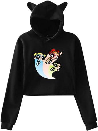 Yaouihur Frauen Cat Ear Hoodie Logo des Powerpuff Girls Lumbar Langarm Hoodie: Odzież