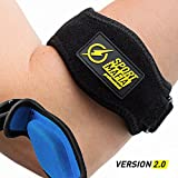 SportMafia Elbow Brace with Gel Pad - Includes 2 Elbow Support Braces, Bonus E-book and Wrist Sweatband Pain Relief for Tennis and Golfer's Elbow - One Size Fits Most