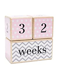Solid Wood Milestone Age Blocks | Choose From 3 Different Color Styles (Pink) | Baby Age Photo Blocks | Perfect Baby Shower Gift and Keepsake by LovelySprouts BOBEBE Online Baby Store From New York to Miami and Los Angeles