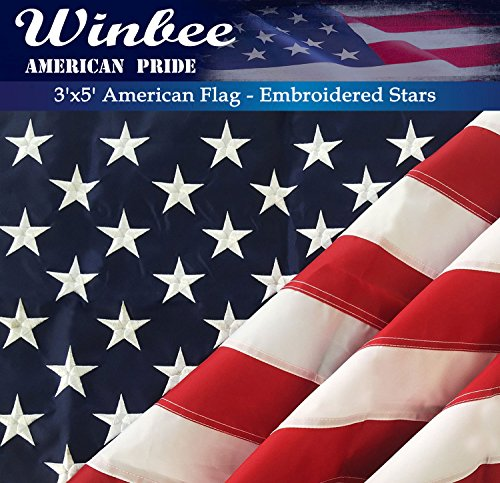 Winbee American Flag 3x5 ft - Embroidered Stars and Sewn Stripes, Long Lasting Nylon Perfect for Outdoor, Sturdy Brass Grommets, UV Protected and Strongest - Fly Your US Flag Proudly, Best Gifts