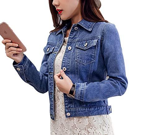 Moda Lunga Donna Vintage Cappotti Giacche Blu Denim Autunno Manica Tasche Jeans Giacca Outwear Red Streetwear E A77SEwqO