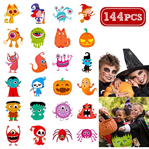Halloween Face Tattoo Designs (Unomor 144 Assorted Halloween Temporary Tattoo for Kids, 24 Cute Designs Stick on Children)