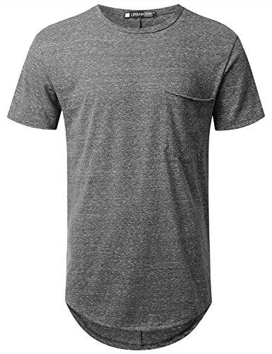 URBANCREWS Mens Hipster Hip Hop Melange Longline Pocket T-Shirt Black, XL