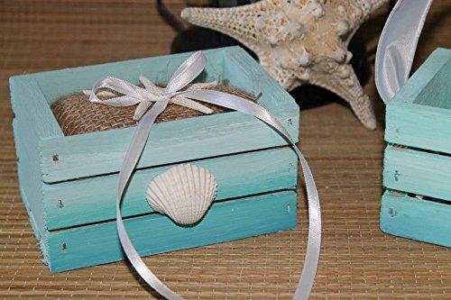 Amazon Com Beach Wedding Ring Bearer Pillow Box Burlap Seashell