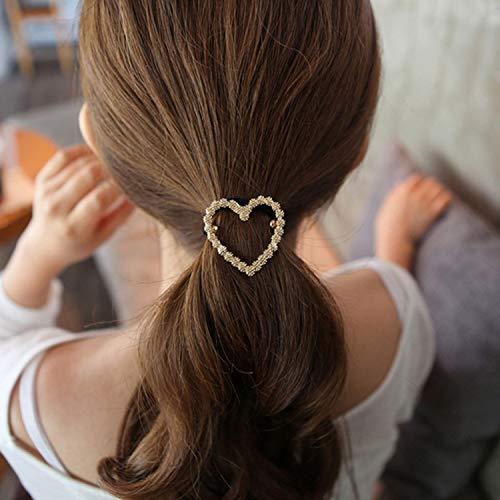 (Crystal Rhinestone Heart Star Round Shape Hair Band Rope Elastic Ponytail Holder)