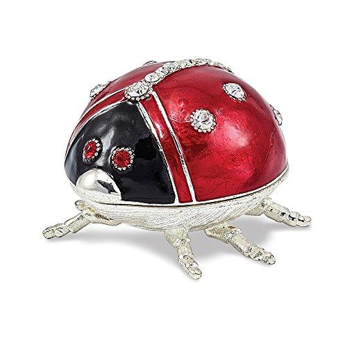 Bejeweled Pewter Enameled Ladybug Trinket Box