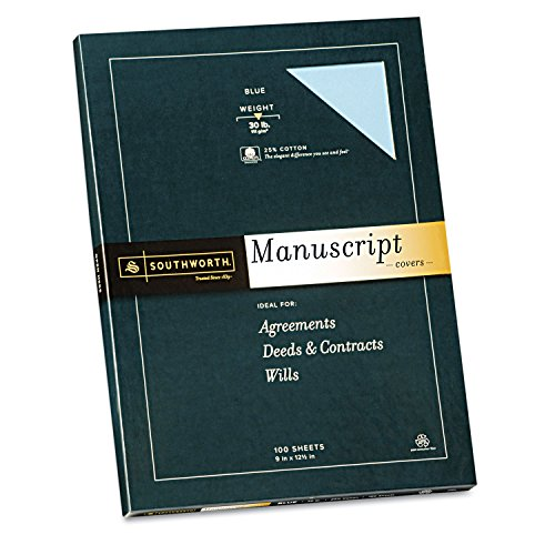 Southworth 41SM 25% Cotton Manuscript Covers Blue 30 lbs. Wove 9 x 12-1/2 100/Box