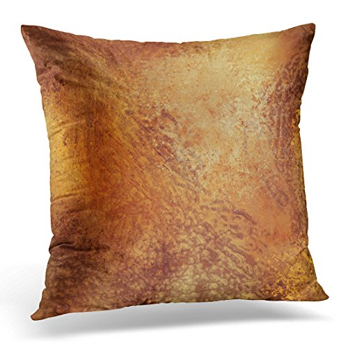TOMKEYS Throw Pillow Cover Orange Tone Brown Warm Colored Grunge Earth Earthy Decorative Pillow Case Home Decor Square 20x20 Inches Pillowcase