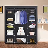 Clothes Closet Portable Storage Organizer Wardrobe Closet with Nonwoven Fabric - Quick and Easy to Assemblely - Extra Strong and Durable - Extra Space - Black- 59 inch