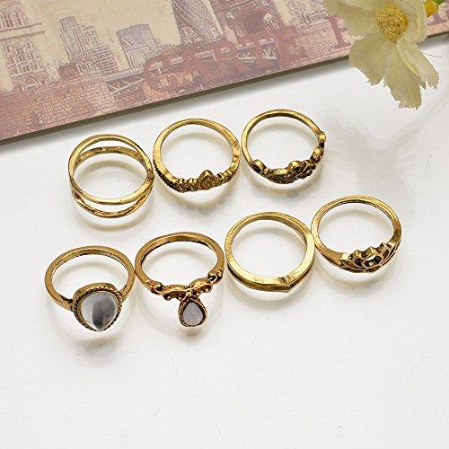 shuaiguo Européen et américain nouveau rétro sculpté grand bijou, bague combinée 7-piece ensemble anneau en forme de coeur