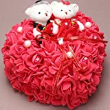 bgblgf M Bride Bear Ring Pillow Rose Love Ring Pillow 2525 cm, red, 2525cm