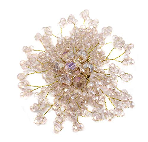 (Ahugehome Women Brooch Pin Beaded Rose Flower Simulated Pearl Crystal jewerly Gift Box (P Crystal Pink))