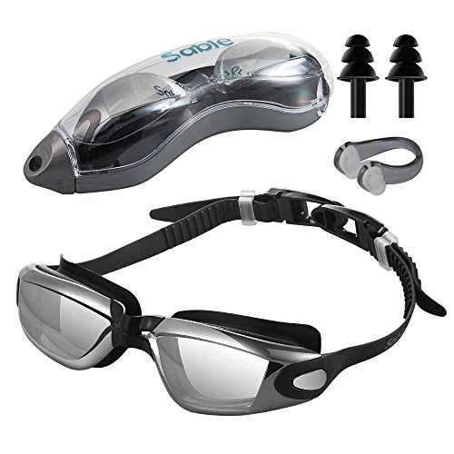 Sable Swim Goggles for Swimming, No Leaking Anti Fog UV Protection, Come with Protection Case, Adjustable for Adult Men Women Youth Kids Child