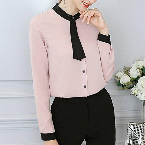 Femme Mousseline t Anyu OL Tops Style Pink Blouse U15nq6wxB