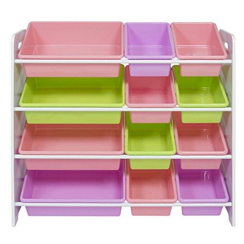 Pastel Colorful Toy Storage Bin Organizer Kids Storage Box w/ 4 Shelf for Children Playroom