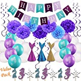Birthday Banner 46pcs Little Mermaid Party Decorations Girls Birthday Party Supplies Kit Under the Sea Theme Party Decor