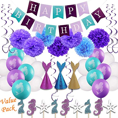 46pcs Little Mermaid Party Decorations Girls Birthday Party Supplies Kit Under the Sea Theme Party Decor, Happy Birthday Banner, Tissue Paper Pom Pom Balls , Balloons,Mermaid hats and Cupcake Toppers for Baby Shower Decorations