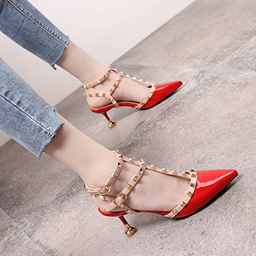 Shoes Female Single Patent Yukun High Word Heels Pointed Studded With heels Cat Stiletto High Red Hollow Buckle Leather qxZwUxAYav
