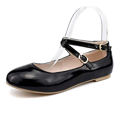 Amazon.com | 100FIXEO Women Comfort Round Toe Buckle Cross Ankle Strap Ballet Flats | Flats