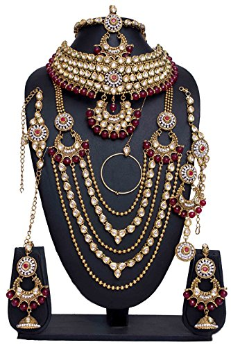 Awesome Style Golden Plated Polki Kundan Stone Stone Indian Necklace Earrings Bridal Set Jewelry by Shiv_Collection (Image #1)