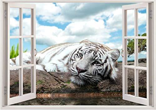 - LJLQ 3D Effect Window Window View Wall Sticker Animal White Tiger Vinyl Applique Decorative Mural Kitchen Bathroom Wall Art 60X90Cm