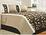 3 Piece Military Camouflage Design Comforter Set King Size, Featuring Unique Army Inspired Camo Patterned Comfortable Bedding, Contemporary Playful Boys Teens Bedroom Decor, Tan, Green, Multicolor