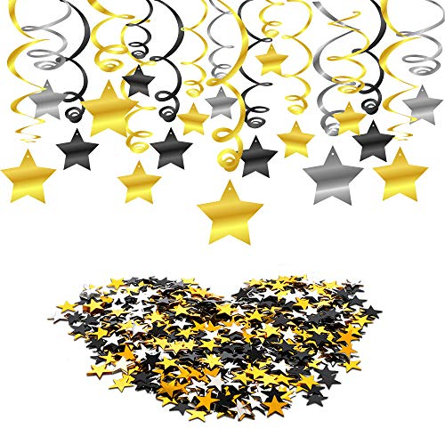 Konsait Hanging Swirl Decoration(30Counts) Star Table Confetti(30Gram), Black Gold Silver Hanging Party Supplies for Wedding Shower Birthday Graduation Party New Year Party Decorations Table Decor -