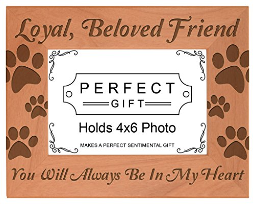 Pet Memorial Gift Remembrance of Dog or Cat Natural Wood Engraved 4x6 Landscape Picture Frame Wood (Pet Breed Memorial)