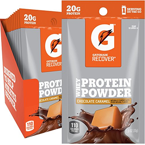 (Gatorade Whey Protein Powder, Chocolate Caramel (Single Serve Pouch, Pack of 12, 20 grams of protein per serving))