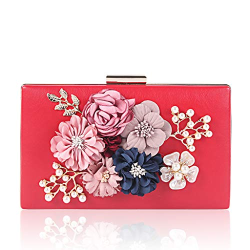 Flower Purse Clutch Red Bag Party Women BYNNIX Prom Wedding Luxury Wallet Evening nCwg1xpqF