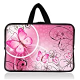 Pink Butterfly 7 ~ 8 inch Tablet Sleeve, 7 ~ 8 inch Tablet handle Portable Neoprene Zipper Carrying Sleeve Case Bag For School Travel Outdoor Office (FY-HS7-009)