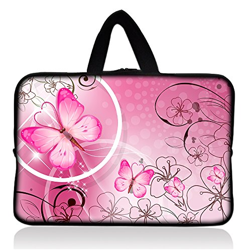 Pink Butterfly 7 8 inch Tablet Sleeve, 7 8 inch Tablet handle Portable Neoprene Zipper Carrying Sleeve Case Bag For School Travel Outdoor Office (FY-HS7-009)