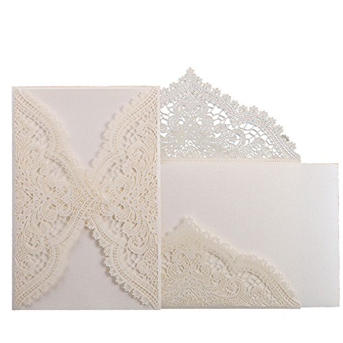 24pcs Lace Paper wedding Party invitation Cards