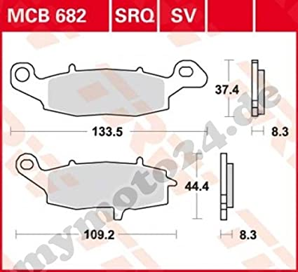 Bremsbelag TRW Lucas MCB682 Organische Mischung mit ABE f/ür Kawasaki Z750 //S Baujahr 2005