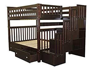 Bedz King Stairway Bunk Bed Full over Full with 4 Drawers in the Steps and 2 Under Bed Drawers, Cappuccino