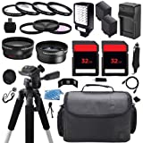 Advanced Camcorder Video Camera Accessory Holiday Package Kit includes (2) High Capacity NP-FV70 FV70 NPFV70 Replacement Battery with Car/International Charger + Deluxe Carrying Travel Case + Digital LED Video Photo Light + (2) 32GB Memory Card + 58mm 0.4