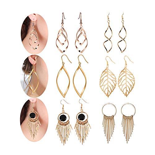 - Drop dangle earrings for women - Womens Classic Double Linear Loops Design Twist Wave Earrings Set for Women Girls Gift