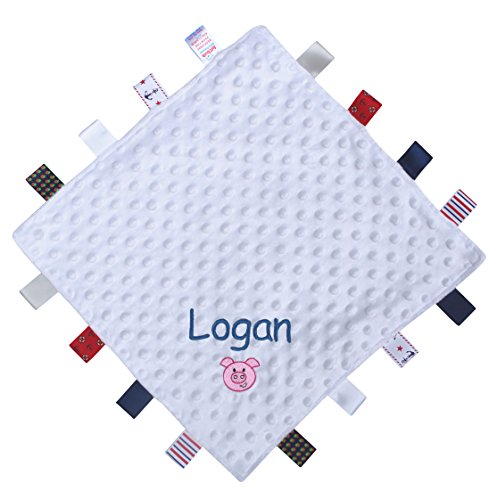 Personalized Baby Boy's Super Soft Animal Comforter Blanket with Satin Ribbons (White Pig) (Soft Baby Koala Blanket)