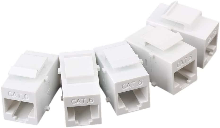 8 Port White Wall Plate W// CAT6 RJ45 Double Female Inline Coupler Ethernet Jack