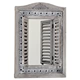Whole House Worlds The Americana Rustic Farmhouse Mirror with Shutters, Vintage Gray, Distressed Metal Border of Braided Flowers, Sustainable Wood, Glass and Metal, 21 3/4 x 1 1/4 x 28 3/4 Inches, by