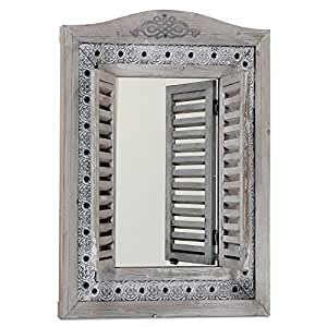 The Americana Rustic Farmhouse Mirror with Shutters, Vintage Gray, Distressed Metal Border of Braided Flowers, Sustainable Wood, Glass and Metal, 21 3/4 x 1 1/4 x 28 3/4 Inches, by Whole House Worlds